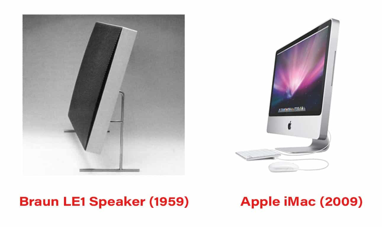 comparison of braun le1 speaker from 1959 and the apple imac from 2009