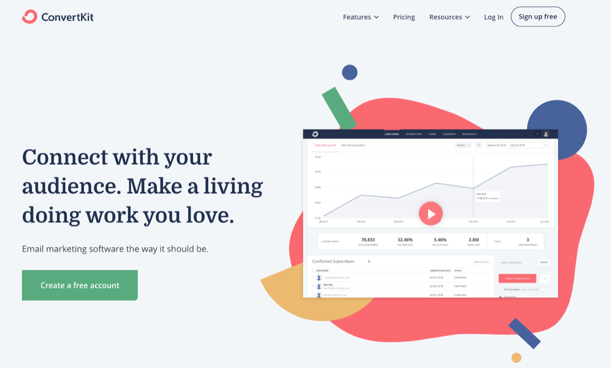 image of convertkit's home page sign up