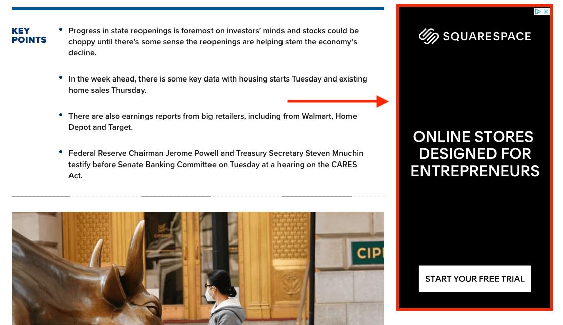 a screenshot showing a sidebar ad on a website