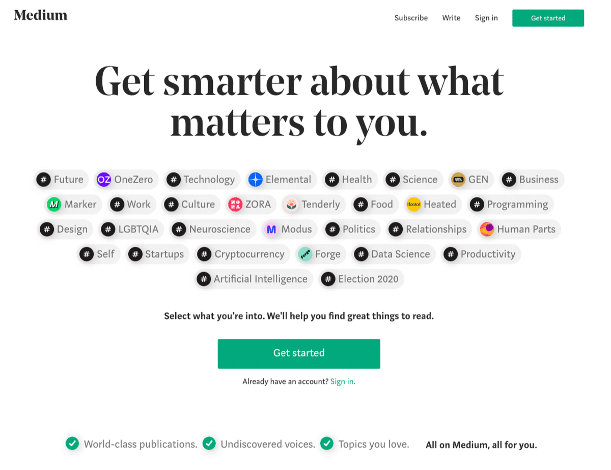 image of medium.com's home page sign up