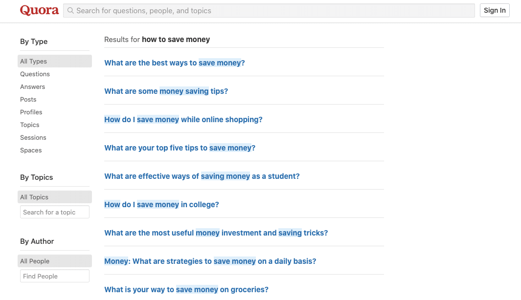 image of quora search page