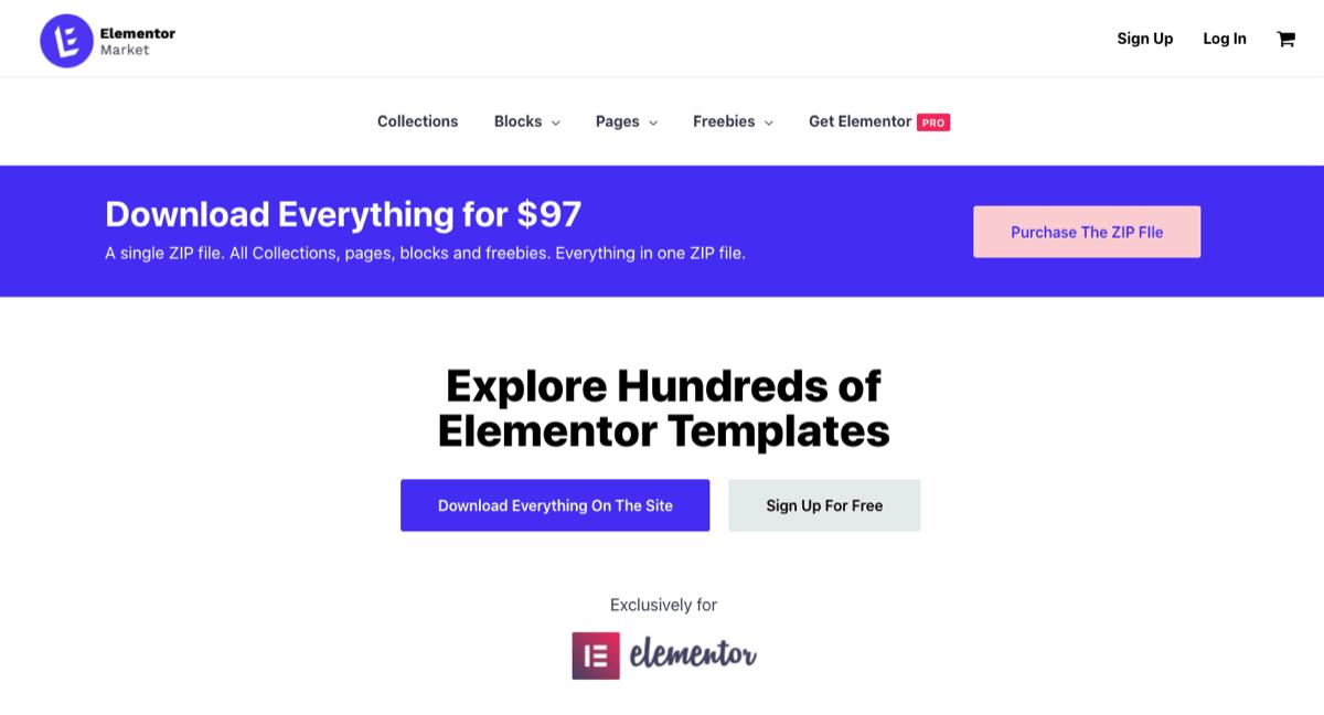 elementor market templates blocks pages
