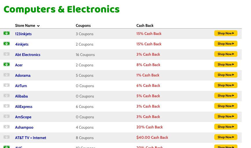 mr. rebates all stores that offer cash back