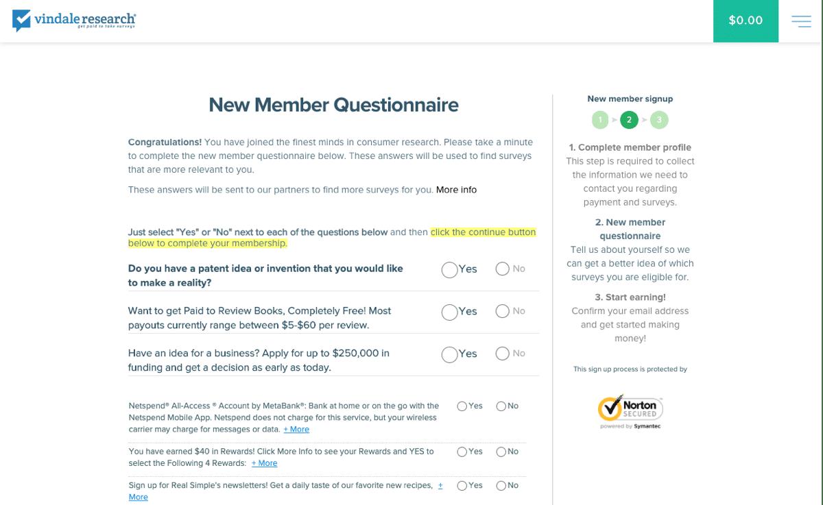 vindale research new member questionnaire