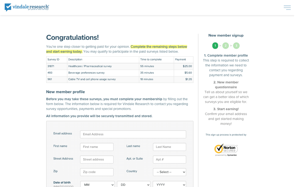 vindale research free registration paid online surveys