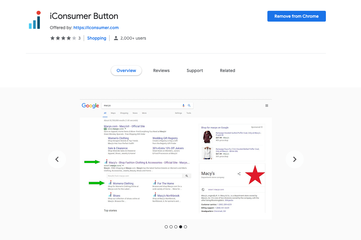 iconsumer button browser extension