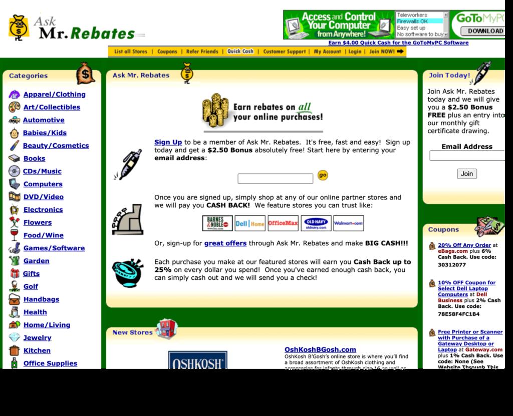 mr. rebates website in 2002