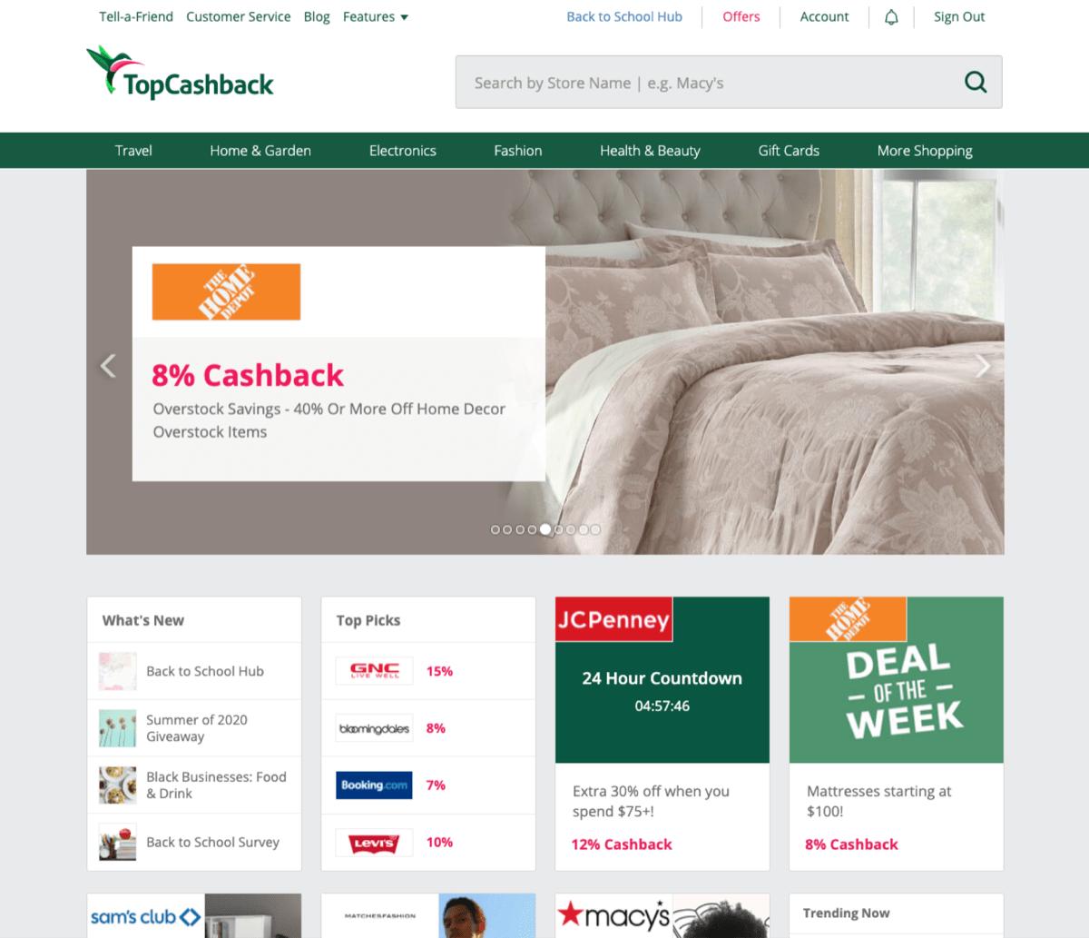 topcashback shopping