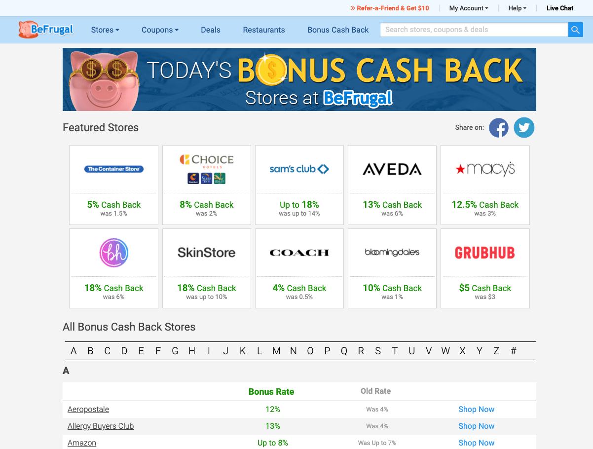 befrugal bonus cash back