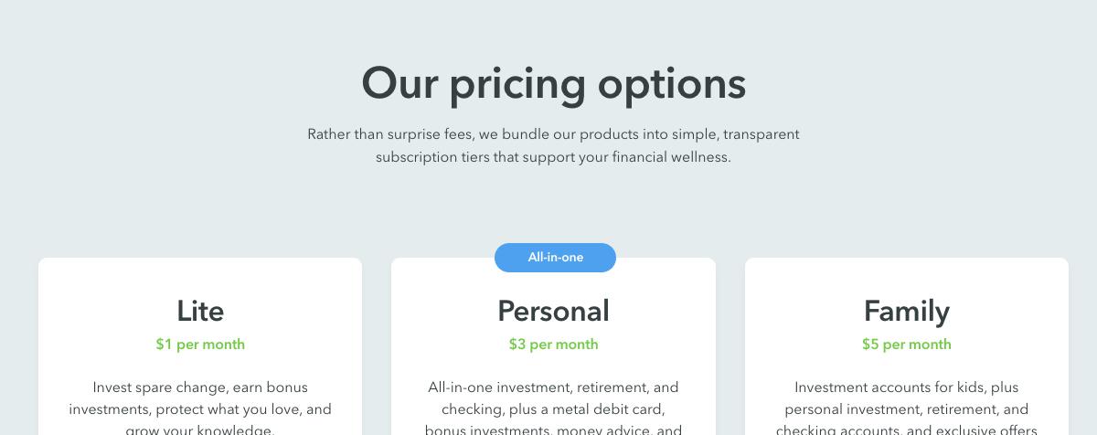 acorns pricing