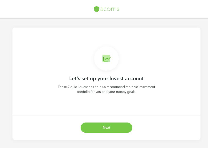 set up acorns invest account