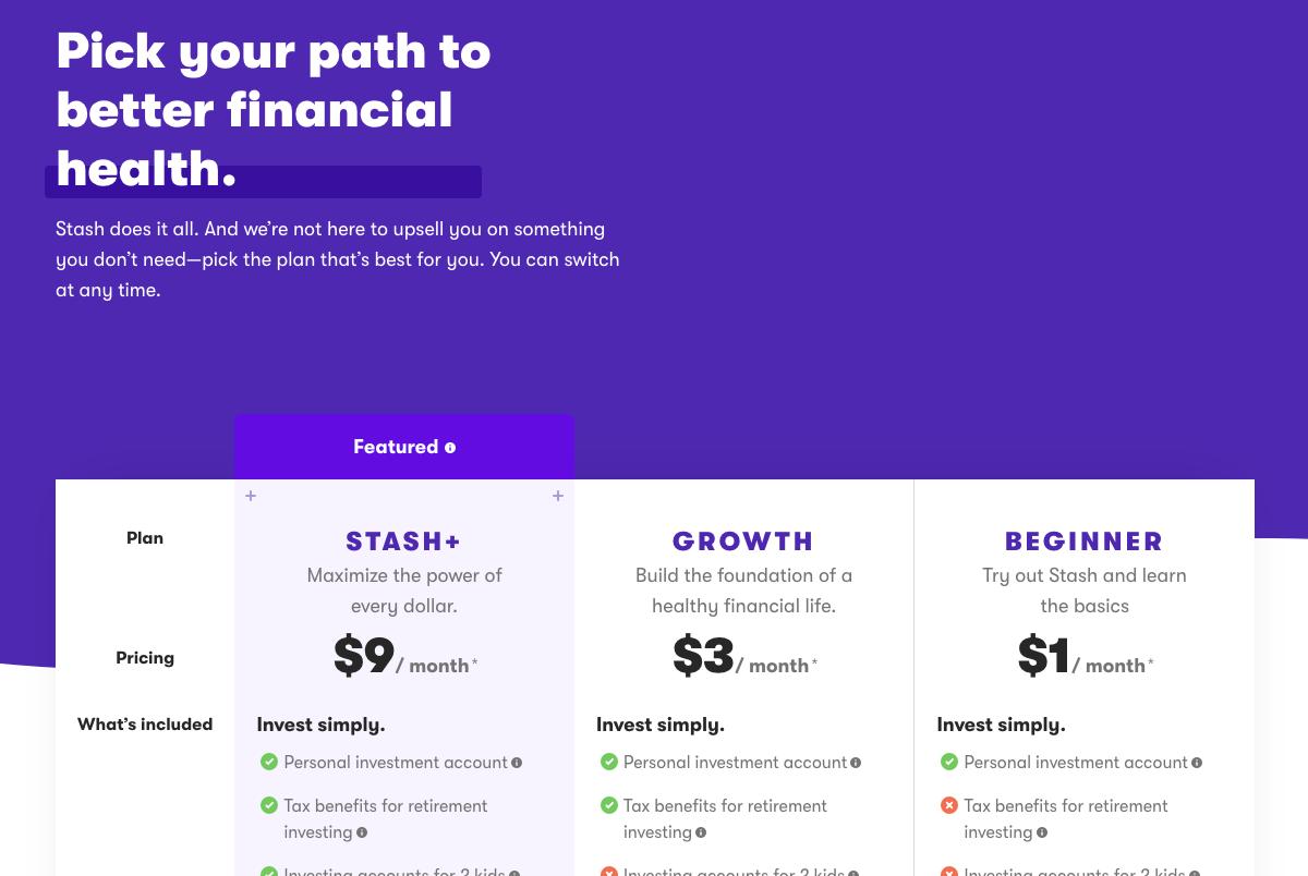 stash pricing