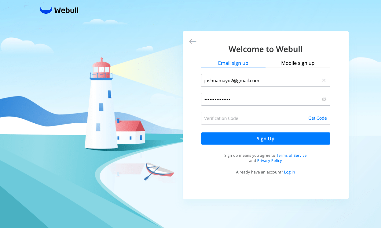 webull sign up page