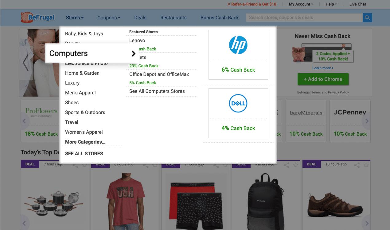 befrugal cash back on computers