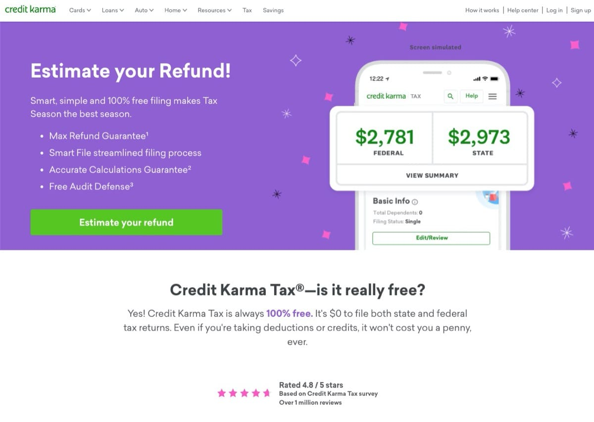 credit karma tax free tax returns