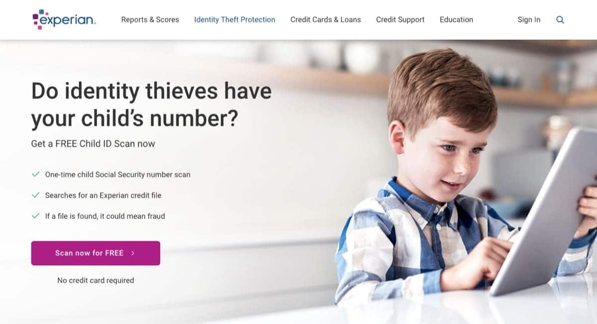 experian child identity scan
