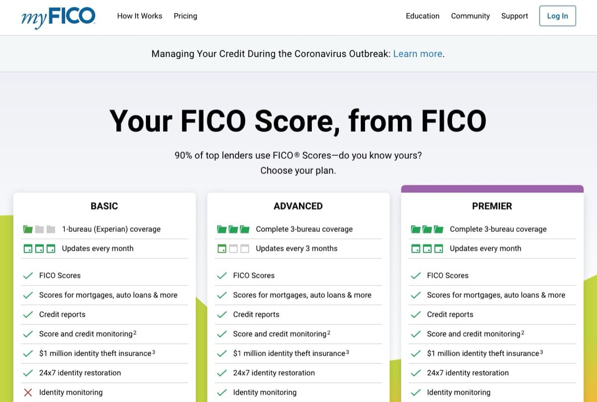 myfico subscription pricing plans