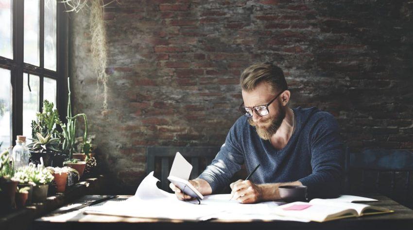 Man working indoors